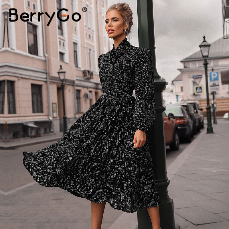 BerryGo Polka Dot Black Elegant Dress Women Lantern Sleeve Tie Neck Long Dresses Spring A-line Office Ladies Party Dress Vestido