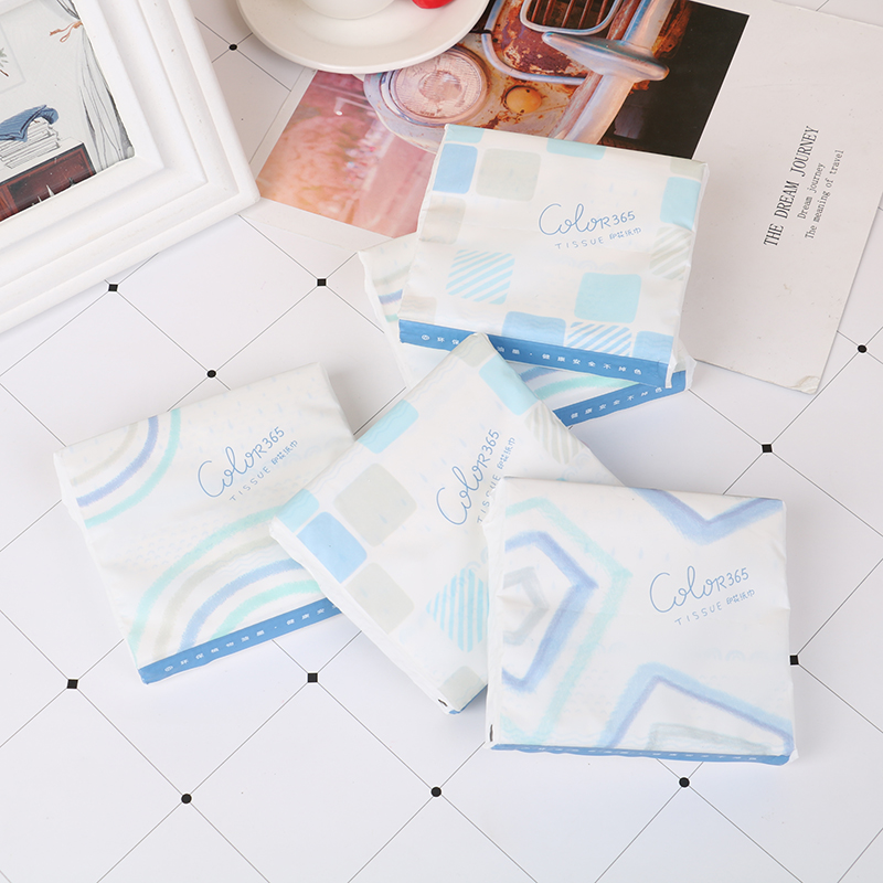 60Pcs/Pack Disposable Facial Paper Tissues Printed Face Tissue Paper Small Bag Drawing Paper Color Fun Series Cartoon Pattern