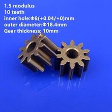 Engrenage cylindrique de métallurgie des poudres, module 1.5, alésage interne de 10 dents, Mini engrenage de 8mm pour accessoires de moteur de bricolage, 5 pièces/lot