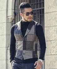 Lente Stiksels Retro Patch Plaid Wollen Casual Slim Vest voor Mannen Bruiloft Europese Stijl Merk mannen Pak Vest M242