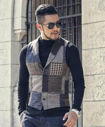 Spring Stitching Retro Patch Plaid Woolen Casual Slim Waistcoat For Men Wedding European Style Brand Men's Suit Vest M242