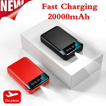 20000mAh Power Bank przenośna ładowarka podwójny USB Powerbank Mini Poverbank Bateria do Xiaomi Mi Iphone Huawei zewnętrzna Bateria tanie tanio NoEnName_Null Bateria litowo-polimerowa Wsparcie szybkie ładowanie Z latarką 15600-19999mAh Do tabletu Do smartfona Micro Usb
