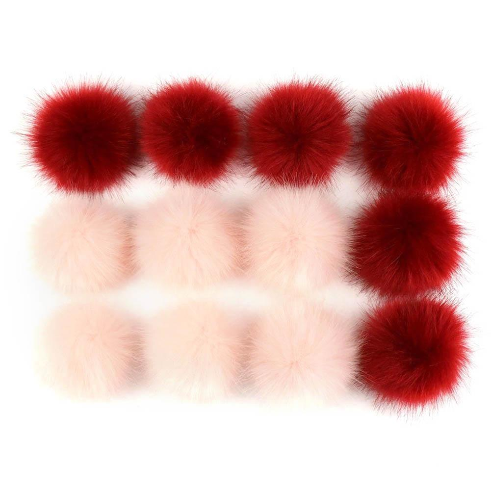 12Pcs Faux Fur Fluffy Balls DIY Hat Shoes Scarves Pompon Soft Handbag Scarve Decor Pendants Plush Key Ring Accessories