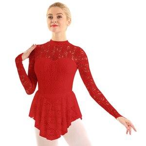 Image 3 - Femmes élégantes vêtements de danse lyrique voir à travers la dentelle patinage artistique justaucorps robe ballerine danse Performance gymnastique Costume