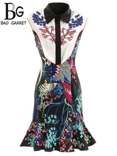 Baogarret Spring Summer Fashion Dress Womens Sleeveless Beading Animal Printed Elegant Vintage Mermaid Party Mini Dresses