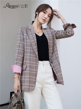 Plaid Pink Vintage Ladies Blazer Long Sleeve Loose Casual Suit Jacket Bleyser Mujer Korean Stylish Women's Clothing New MM60NXZ