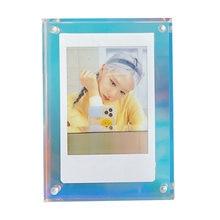 Cadre photo magnétique 3 pouces, support acrylique couleur, cadre d'affichage de carte photo laser transparent, décoration couleur