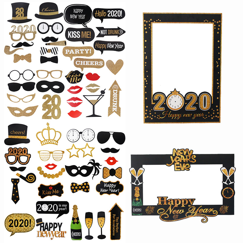 1set Happy New Year Photo Photo Booth 2020 New Year Paper Photo Props Funny Glasses Moustache New Year Eve Party Photobooth