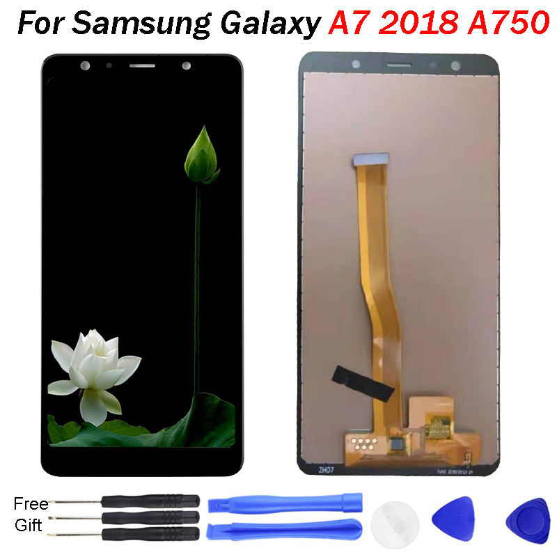 For <font><b>Samsung</b></font> Galaxy <font><b>A7</b></font> 2018 A750 A750F SM-A750F A750FN A750G <font><b>LCD</b></font> Display Touch Screen Digitizer Assembly Free Tools A750F Display image