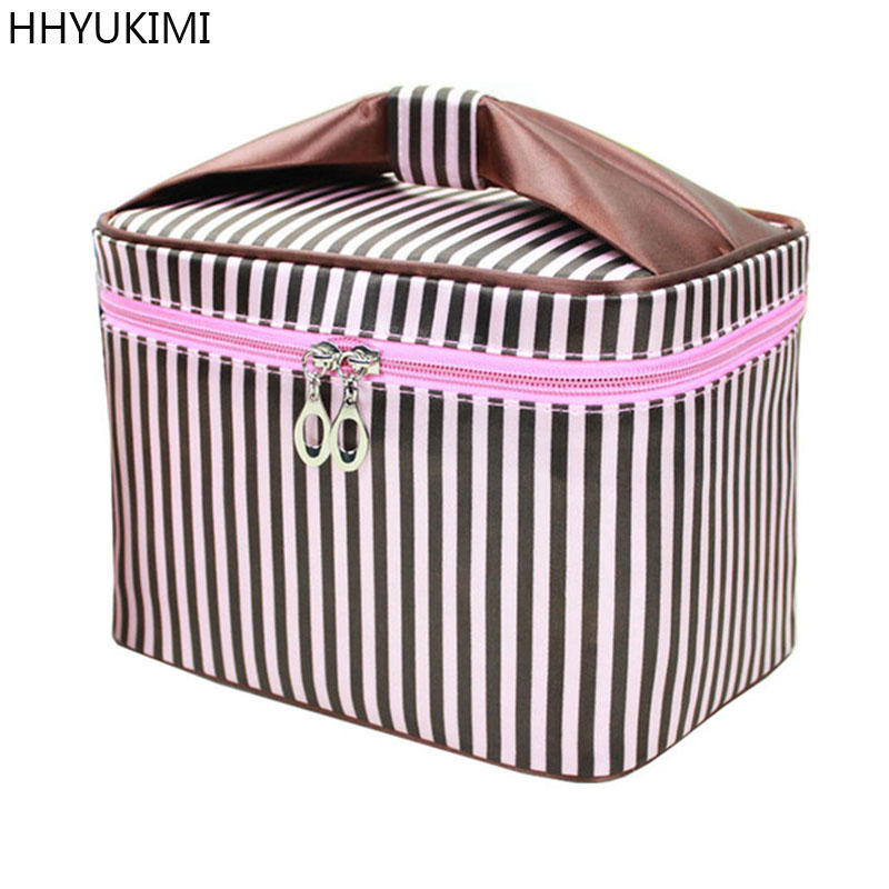 HHYUKIMI Woman Cosmetic Bags Organizer Square Bow Striped Make Up Case Folding Travel Toiletry Bag Large Capacity Beauty Bag