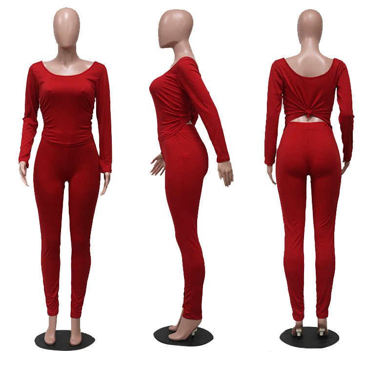 Fitness Women Tracksuit Long Sleeve Tops + Leggings Pants Stretchy Two Piece Outfits Sportswear Suits Matching Sets Active Wear 6