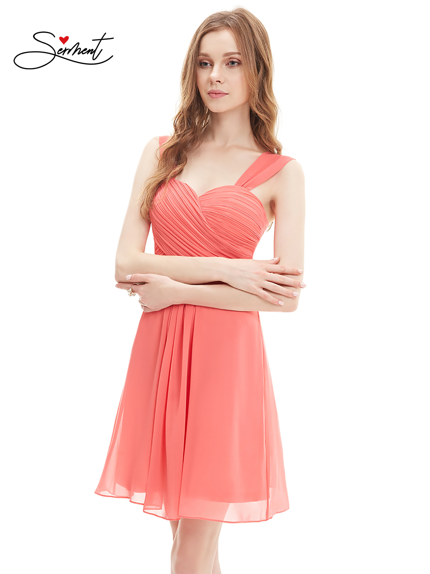 OLLYMURS New Elegant Woman Evening Gown Sexy Sleeveless Chiffon Short Evening Dress Suitable For Formal Parties