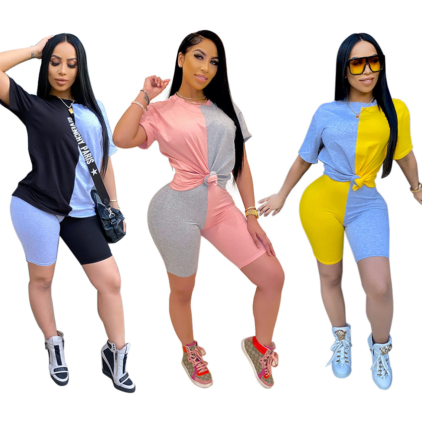 2020 Summer Color Block Two Piece Set For Women O Neck Top And Skinny Shorts Sports Tracksuit Casual Patchwork Matching Sets