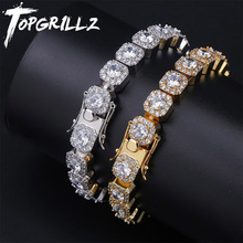 TOPGRILLZ 10mm Tennis Bracelet Square CZ Stone Mens Hip hop Jewelry Copper Material Gold Silver Color Iced Out CZ Link 7 8 Inch