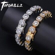 Topgrillz 10Mm Tennis Armband Vierkante Cz Steen Mannen Hip Hop Sieraden Koper Materiaal Goud Zilver Kleur Iced Out cz Link 7 8 Inch