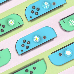 Image 3 - Animal Crossing Cat Paw Bear Leaf Flower Thumb Stick Grip Cap Joystick Cover For Nintend Switch NS Lite Joy con Controller Case