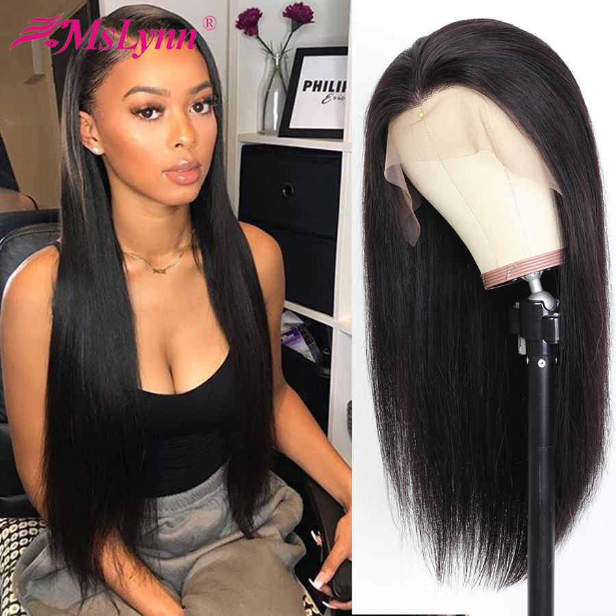 Full Lace Human Hair Wigs With Baby Hair Brazilian Straight Human Hair Wigs Pre Plucked Glueless Full Lace Wigs Mslynn Remy Hair
