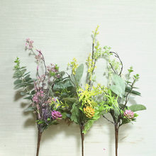 Artificial Eucalyptus Grass Plastic Leaves Mixed Bundle Flower Arrangement for Home Living Room Decor Fake Plants(China)