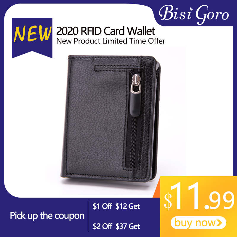 BISI GORO Coin Purse Metal Business Blocking Card Holder RFID Travel Wallet Aluminum Protector Safe Soft Leather Slim Card Case