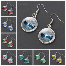 Tree of Life Glass Cabochon Drop Earrings Silver Plated Dangle Jewelry Gifts for Her
