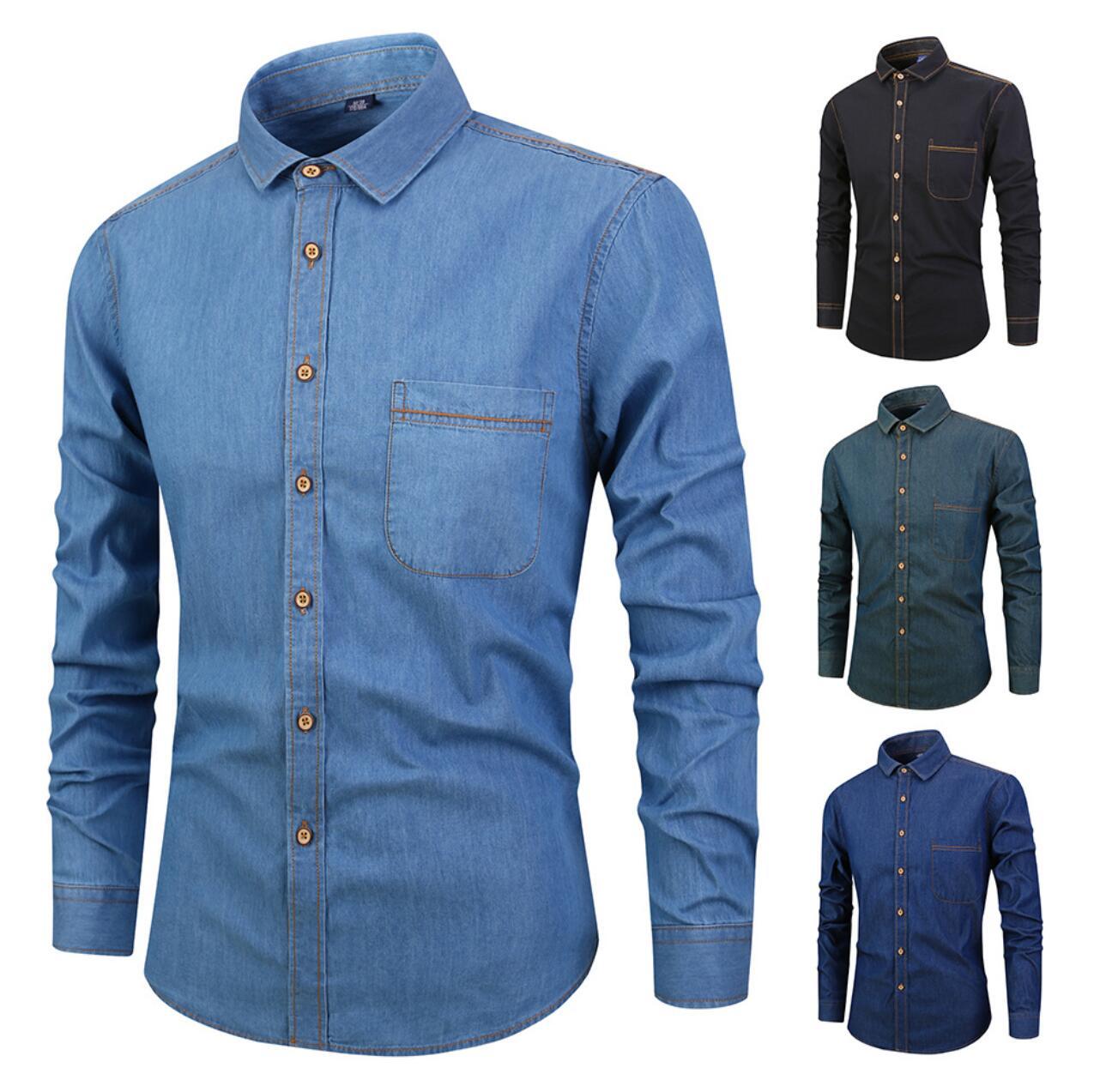 Men's autumn new 2019 cotton denim men's shirt cotton slim casual shirt men SLM717-1-12