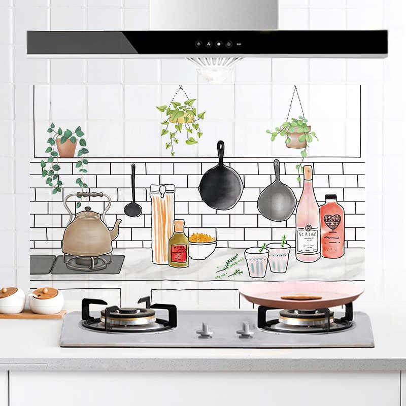 60*90cm cozinha à prova de óleo adesivos de parede à prova de água fogão de telha de alta temperatura gabinete gama capa papel de parede remodelado