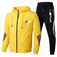 2021 bmw masculino terno com zíper com capuz + calças casual wear ginásio roupas de marca moda novo estilo