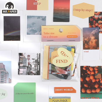 Mr.paper 40pcs/pack 4Styles Stickers After sunset Sweet Dreams Fog color Memory Color DIY Scrapbooking Material Card Ret