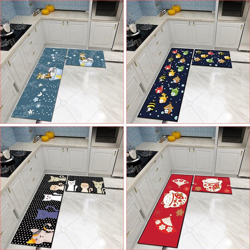 Cuisine tapis Long lavage résistant à l'huile chambre porte tapis ménage été porte tapis salle de bain tapis de chevet tapis