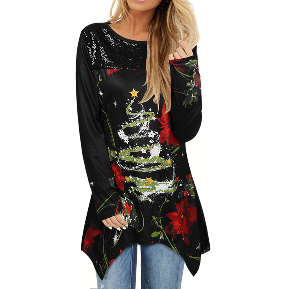 Women christmas Long Sleeve shirt Claus Print Tunic Tee Shirt Autumn Winter Xmas Tops Printed Christmas clothes Tee Shirt Q30