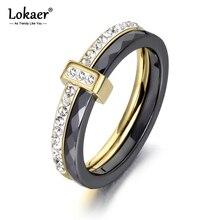 Lokaer 2 слоя черный/белый керамические Хрустальные Обручальные кольца ювелирные изделия из нержавеющей стали горный хрусталь обручальное кольцо для женщин R18054