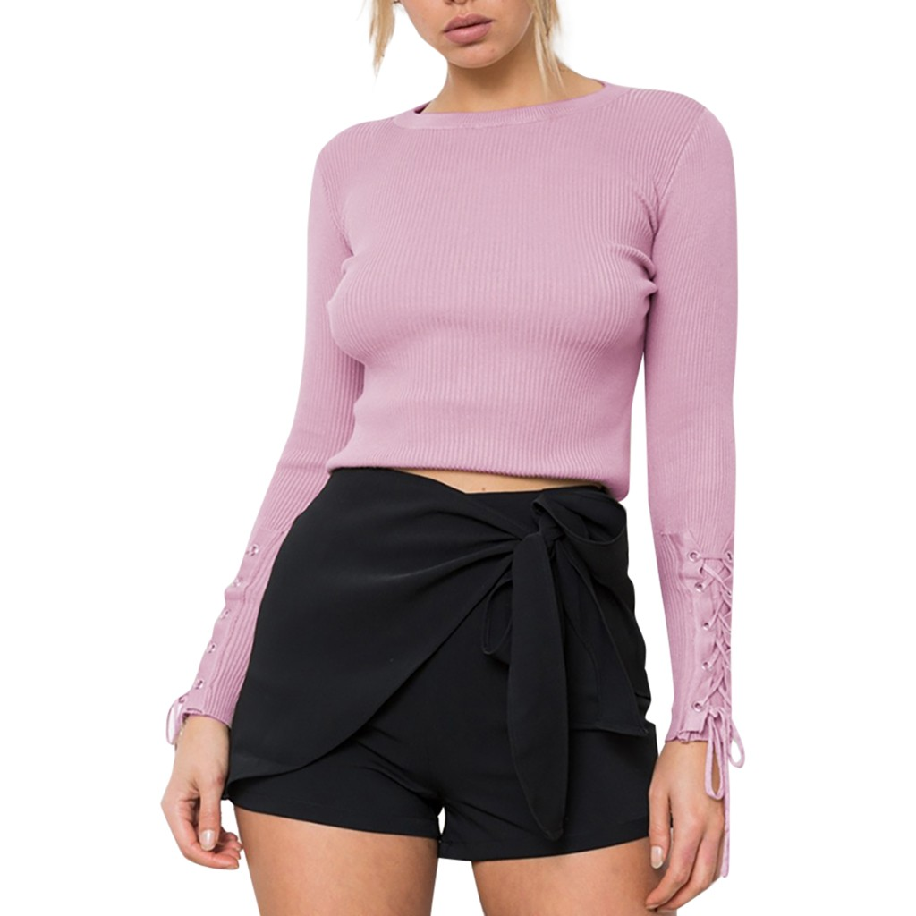 Wrap Sweater Knitted Pullover Crewneck Thin Soft Side-Lace-Up-Sleeve
