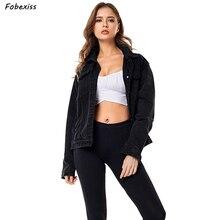 Black Jeans Jacket Women Autumn 2019 New Fashion Button Pocket Loose Streetwear Denim Jacket Cardigan cazadora vaquera mujer цена