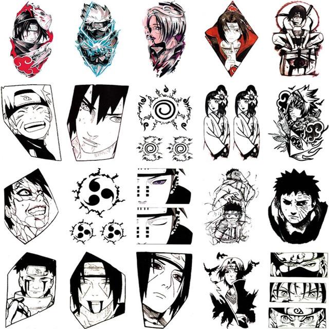 20pcs Naruto Tattoo Stickers Anime Style Temporary Tattoo Stickers Waterproof Long-lasting Fake Tattoos