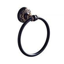 Черный резное полотенце полка для ванной круглый алюминий туалет полотенце кольцо настенный навесной
