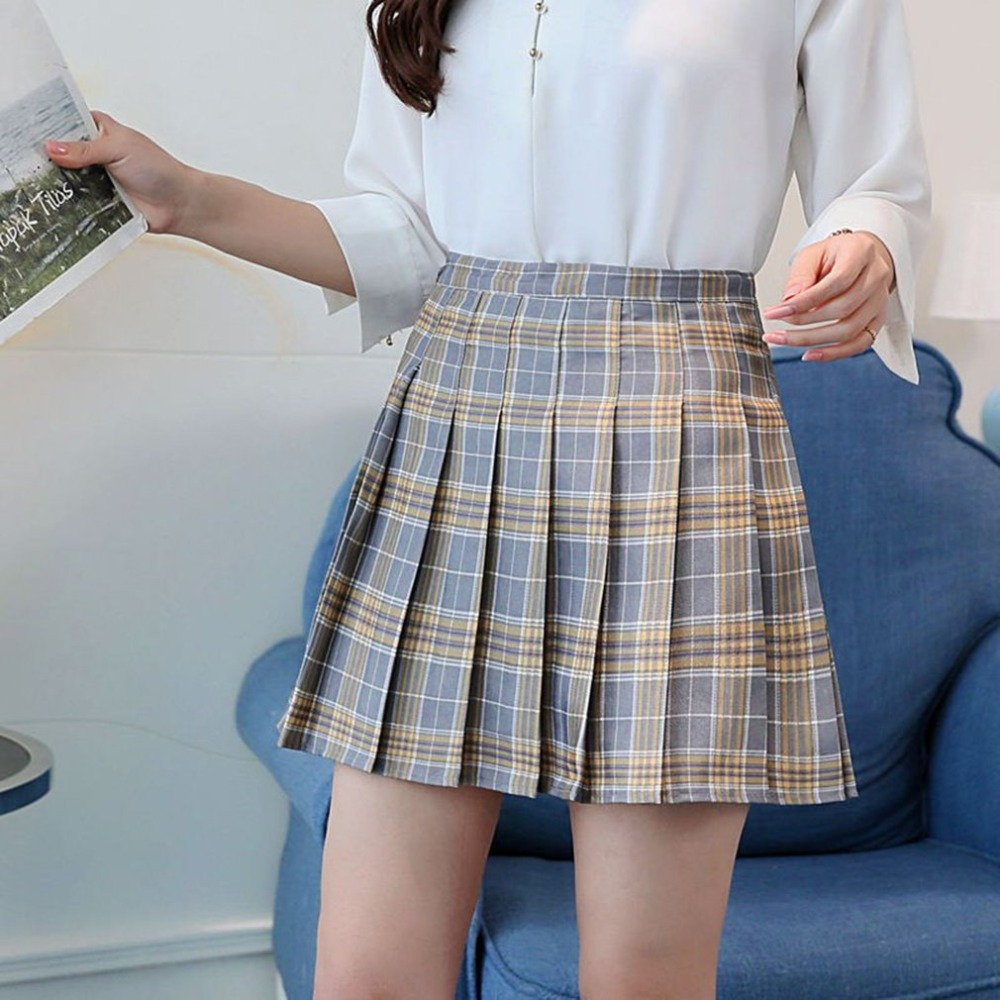 Waist Plaid Pleated Skirt Harajuku Lolita Style A-line Mini Sailor Skirt  Sweet Girls Japanese School Uniform Skirts Clearance