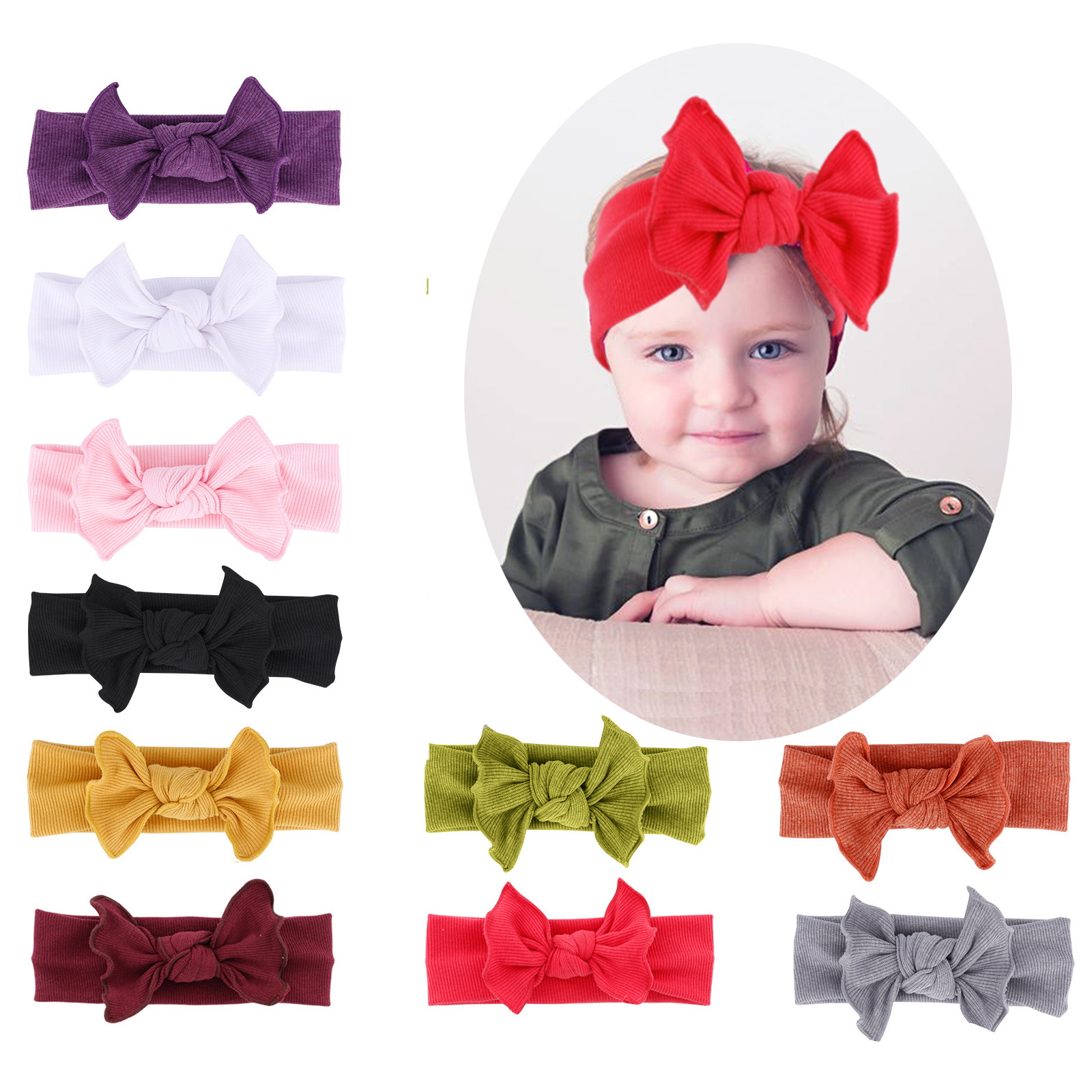 Emmababy Nylon Bowknot Infant Baby Headband Flower Hair Accessories Hair Band