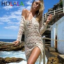 цена на HOLALA Sexy Women Hollow Out Beach Cover Up Crochet Bikini Cover Up S Cover- Up S Bathing Suit Swimwear Dress Swimsuit Vestido