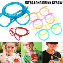 Soft Novelty Juice Kids Straw Glasses Long Tube Fun Drinking Straw for Children BV789