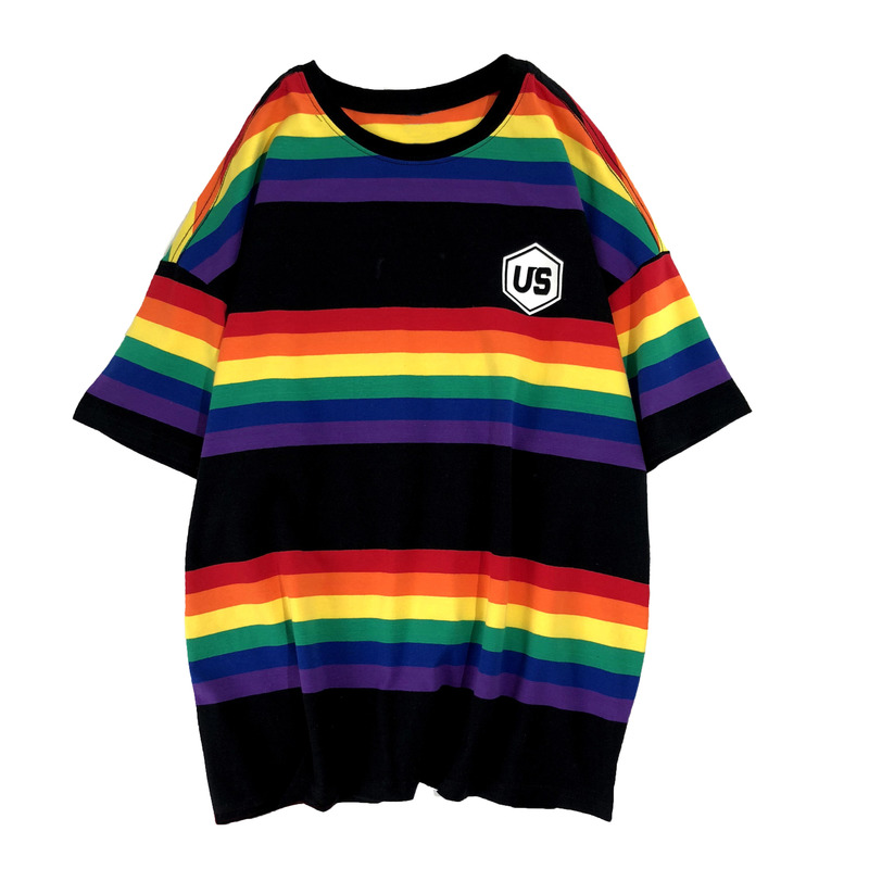 VOGUELEO 2019 New Style Fashion Rainbow Stripe <font><b>T</b></font>-<font><b>shirt</b></font> <font><b>Hongkong</b></font> Version Loose Casual Oversize Summer Short Sleeves Young Men image