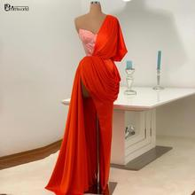 Formal-Dresses Evening-Gown Chiffon Orange Party Long One-Shoulder Women New Sweetheart