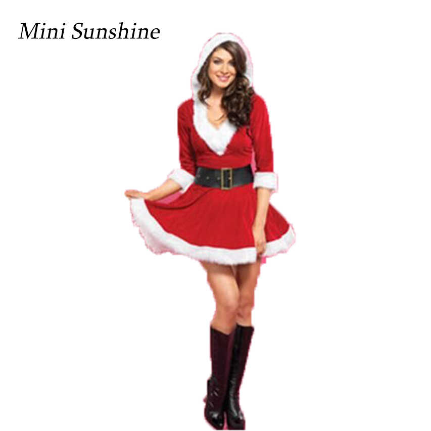 Sexy Christmas Suit Adults Women Slim Fit Costumes Adult women Fashion  Santa Claus Cosplay Christmas Party Fancy Dress z30