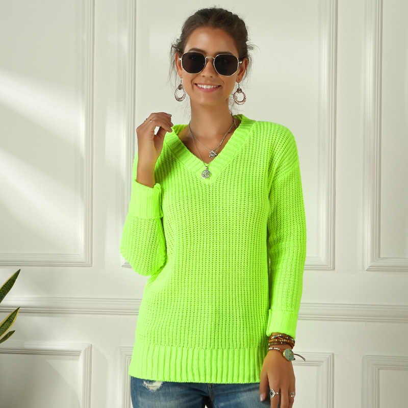 Neon Green Knitting Sweater Casual Long Sleeve Solid Colors