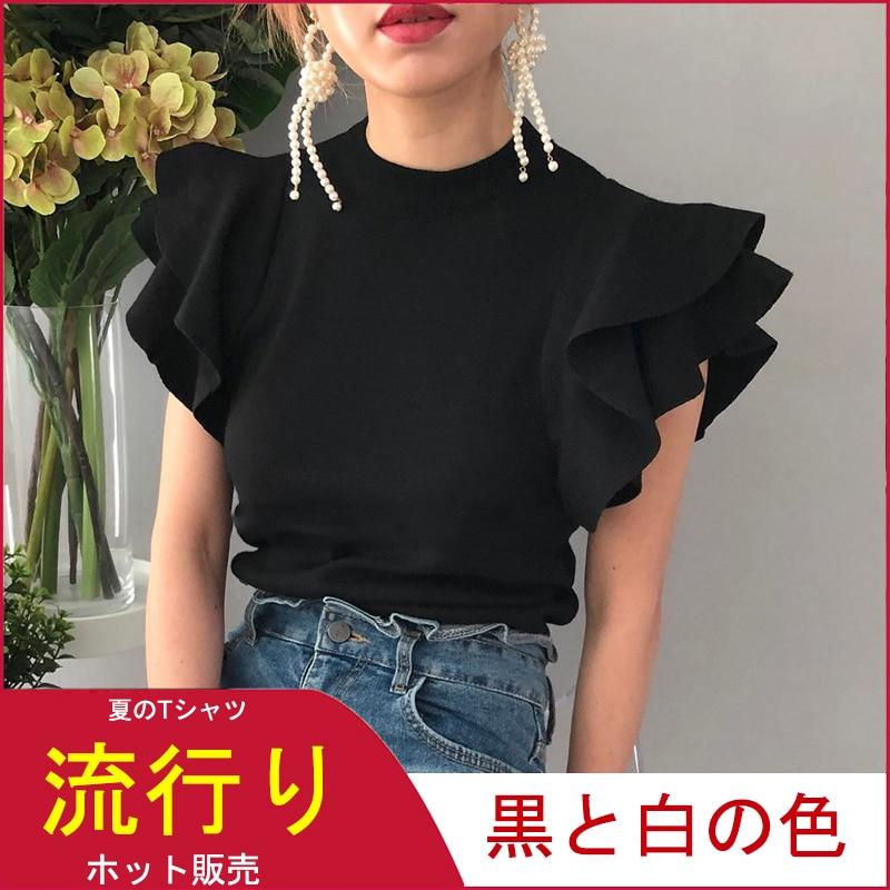Summer Tees Tops Short-Sleeve Tshirt Elegant Knitted Slim Ruffles Black White Korean-Fashion