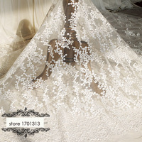1.3*1meter French 3d dots embroidered Lace Fabrics for wedding dress ivory white floral lace applique DIY party dresses fabrics