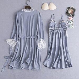 Image 4 - ブルゴーニュ女性パジャマ 2 個パジャマセットセクシーな V ネックのホーム服ナイトウェアレース花ローブガウン睡眠スーツネグリジェ