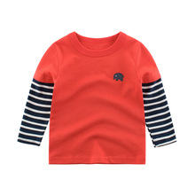 Children Clothing Fashion Baby Spring Autumn Children's Striped Long-sleeved Fake Two-piece T-shirt Long-sleeve Bottom Shirt Top