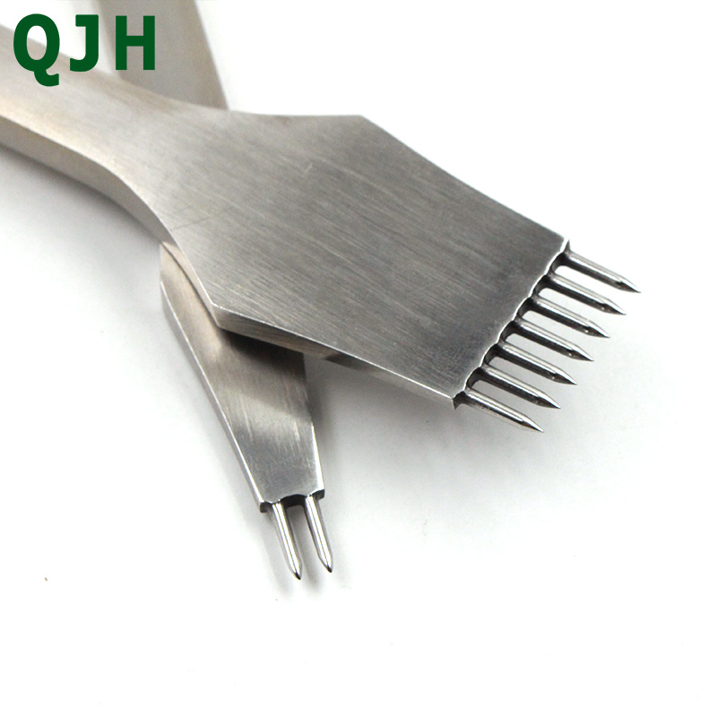 Newest Leather Punching Pricking Round Chisel Tools 3mm&4mm Spacing 2+7 Prong,DIY Handmade Stitching Leather Craft Treatments