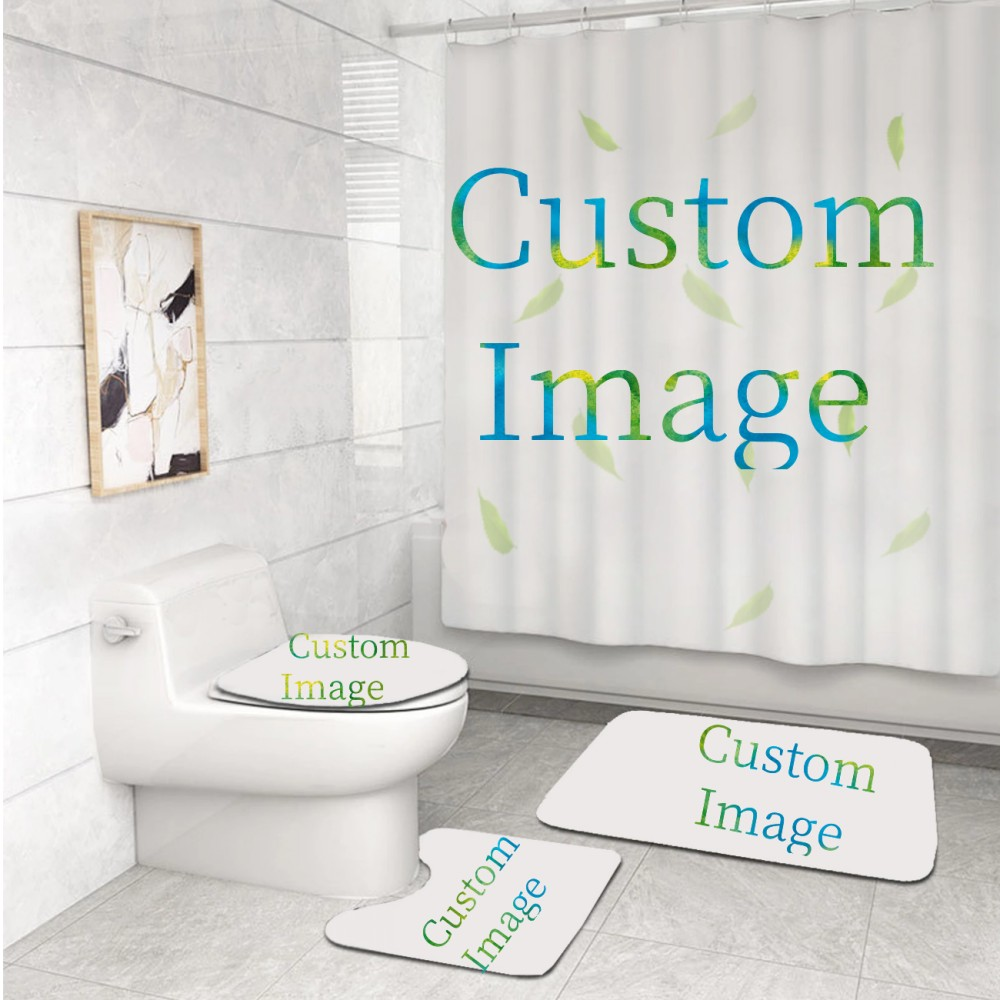 4 Pieces Sets Bathroom Decor Home Any Design Customized Waterproof Polyester Shower Curtain Rug Toilet Cover Non-slip Floor Mat