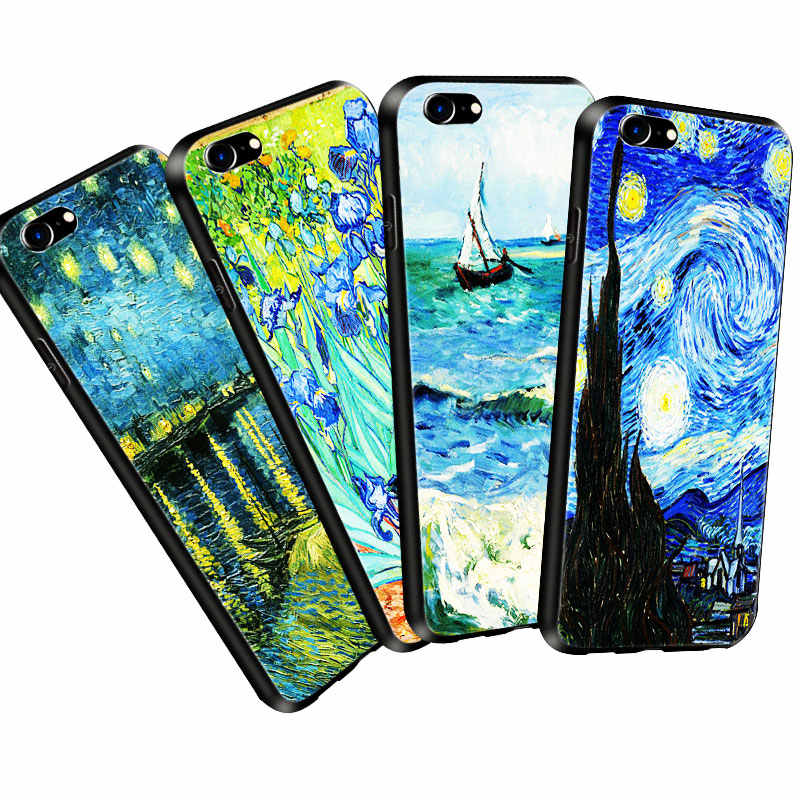 Coque Starry Night Vincent Van Gogh Oil Painting Soft Silicone Phone Case Cover for iPhone 11 Pro X 5S XR XS Max SE 6s 7 8 Plus
